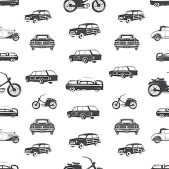 Surfendes nahtloses muster des transportes. retro- brandungsauto, motorradtapete in der einfarbigen art