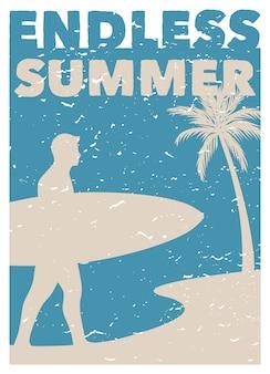 Surfendes retro plakat der weinlese des endlosen sommers