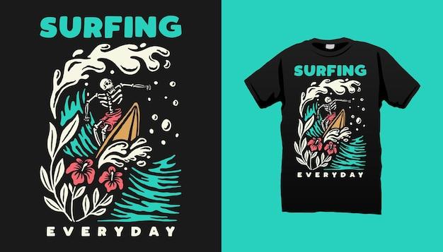 Surfendes skelett-t-shirt-design