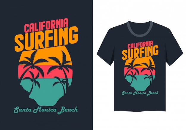 Surfendes t-shirt kaliforniens