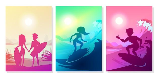 Surfer auf ozeanillustration von jungen- und mädchenpaaren mit brettern an hawaii setzen auf den strand.