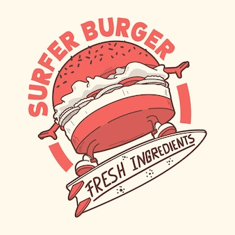 Surfer burger charakter illustration