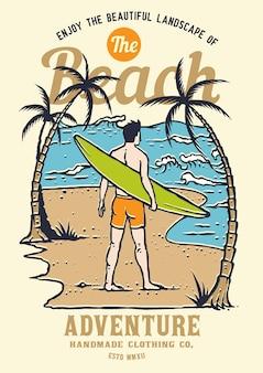 Surfer, der auf die welle auf der sommer palm beach-insel wartet