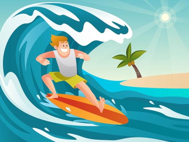 Surfer, der auf ozeanwellen im karikaturstil reitet