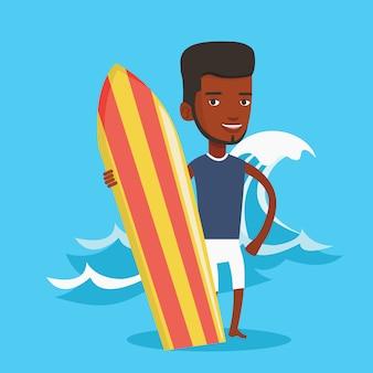 Surfer, der surfbrettvektorillustration hält.