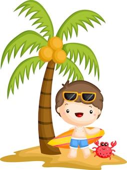 Surfer, der unter einem kokosnussbaum steht