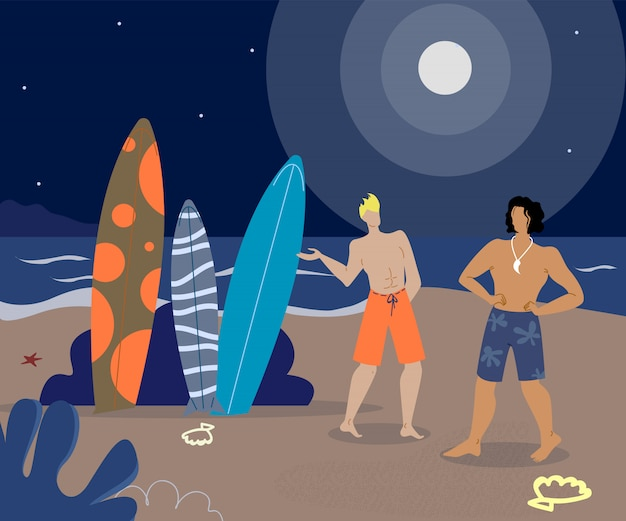 Surfer-freunde auf strand-flachen vektor-charakteren