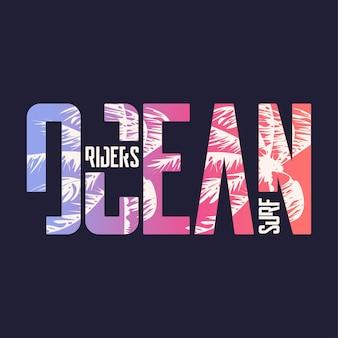Surfer im ozean. grafisches t-shirt-design, typografie, druck. vektor-illustration.