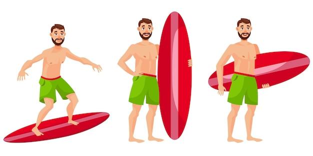 Surfer in verschiedenen posen. männliche person in der karikaturartillustration