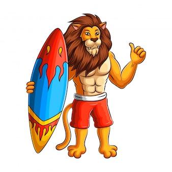 Surfer löwe zeichentrickfigur