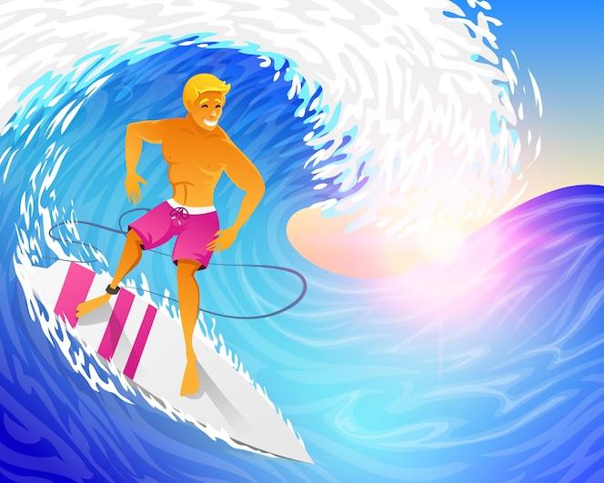 surfer reiten auf blauer ozeanwelle mit surfbrett. muskulöser mann am wochenende.