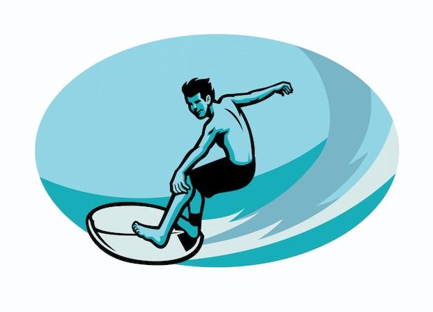 Surfer reiten wellen
