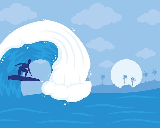 Surfer-silhouette in der ozeanwellenszene