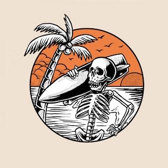 Surfer-skelett, das nach guter welle sucht