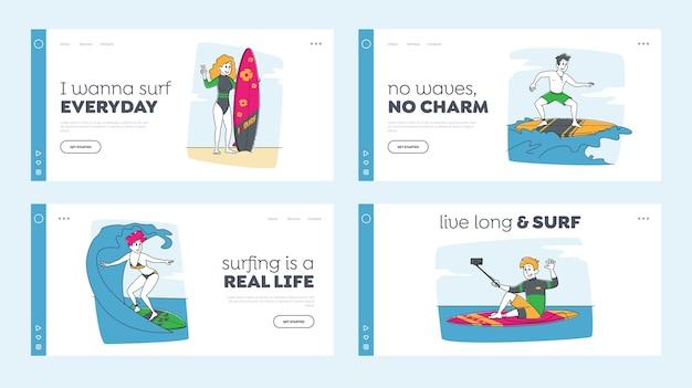 Surfer sport aktivität landing page template set. surfing people charaktere reiten surfbretter von ocean waves, make selfie. sportwettkampf, sommer-freizeit, lifestyle. linear