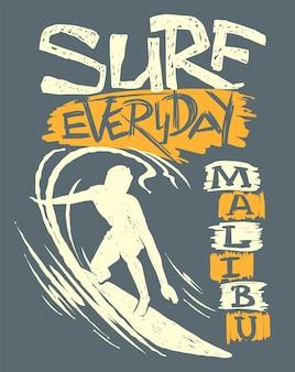 Surfer und große welle. t-shirt-design, vektordruck