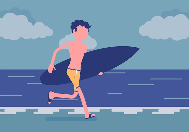 Surferjunge an einem strand. junger sportlicher mann an einem meeresufer mit einem surfbrett, das läuft, um auf einer welle zu reiten, aktiver kerl genießt extremsport im urlaub, sommeraktivität. vektorillustration, gesichtsloser charakter