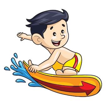 Surferjungenkarikatur