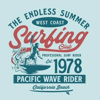 Surfgrafik für t-shirt druck