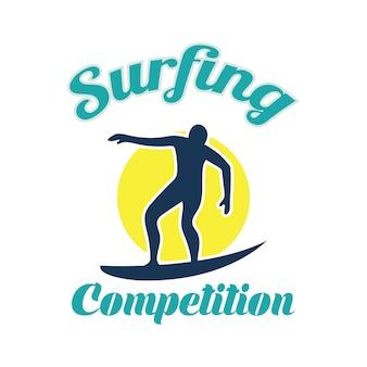 Surfing festival banner zum surfen wettbewerb. vektor-illustration