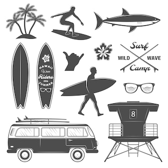 Surfing icon set