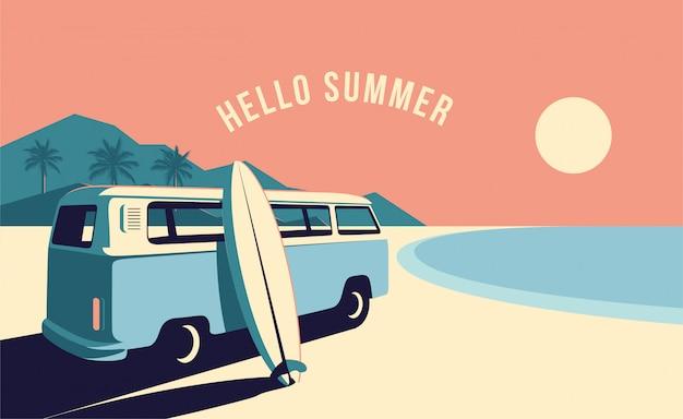 Surfing van und surfbrett am strand mit gebirgslandschaft auf hintergrund. sommerzeit urlaub banner design-vorlage. minimalistische illustration im vintage-stil.