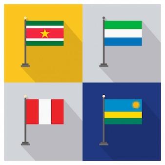 Surinam Sierra Leone Peru und Ruanda Flaggen