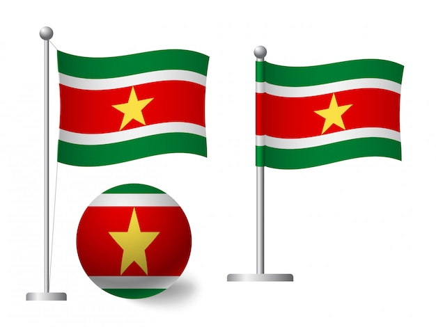 Suriname flagge auf stange und ball symbol