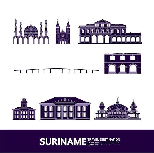 Suriname reiseziel vektor-illustration.