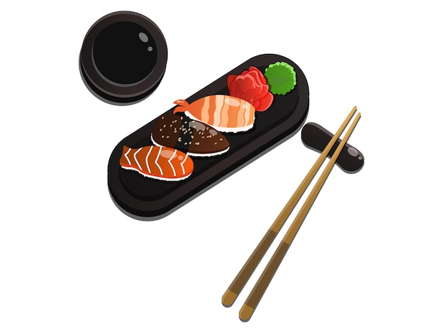 Sushi asiatisches fischfutter realistisches set mit tellerstäbchen und gewürzen