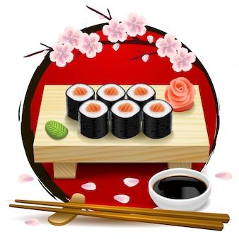 Sushi auf holztablett. rotes symbol von japan und von kirschblüte. essstäbchen, wasabi, sojasauce, ingwer.