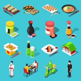 Sushi-bar-isometrische icons