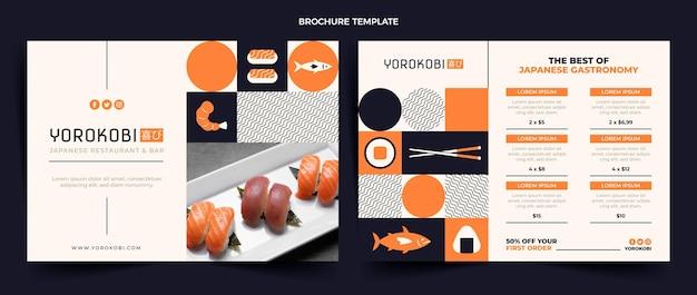 Sushi-broschüre im flachen design