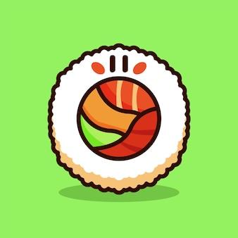 Sushi-cartoon-vektor-illustration