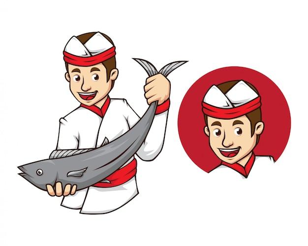 Sushi-chef mit fisch-maskottchen