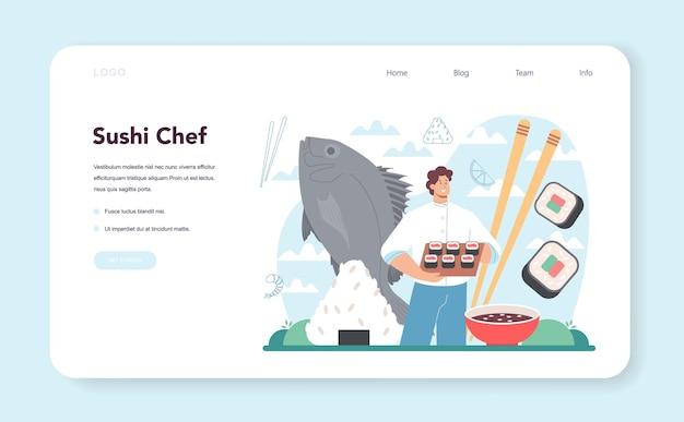 Sushi-chef-webbanner oder landingpage-restaurantkoch, der brötchen kocht