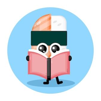 Sushi, das ein süßes charakterlogo eines buches liest