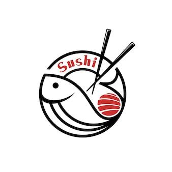 Sushi fisch japanisches essen restaurant logo design-vorlage