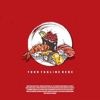 Sushi illustration logo premium