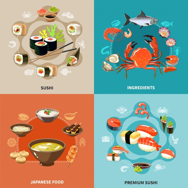 Sushi-illustration set Kostenlosen Vektoren