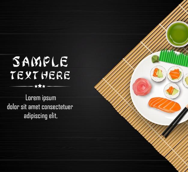 Sushi, japanisches lebensmittel auf dunklem holztischhintergrund