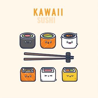Sushi kawaii japanisches essen emoticon emoji illustrationsset