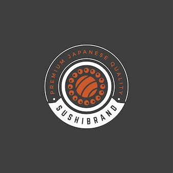 Sushi-logo-emblemschablone lachsrollenschattenbild mit retro- typografievektorillustration