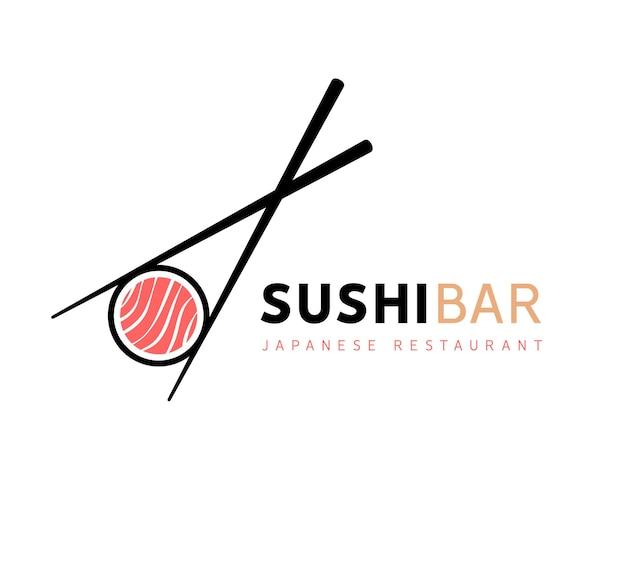 Sushi logo fisch essen japan restaurant. asiatisches abendessen mit japanischem meeresfrüchte-logo.