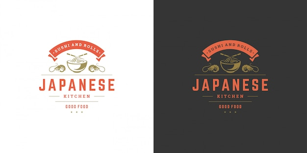 Sushi logo und abzeichen japanisches essen restaurant mit ramen nudelsuppe asiatische küche silhouette