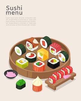 Sushi-menü, asiatisches essen mit reisplakatillustration. kochrestaurantrolle mit lachs auf hellem hintergrund, barküche