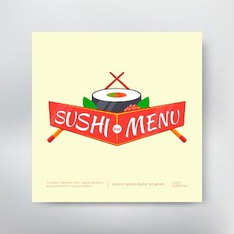 Sushi menü cover vorlage mit rolle und stäbchen.