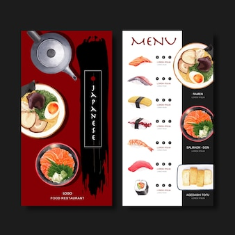 Sushi-menüsammlung für restaurant. vorlage mit essen aquarell illustrationen.