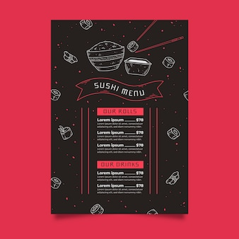 Sushi menüvorlage