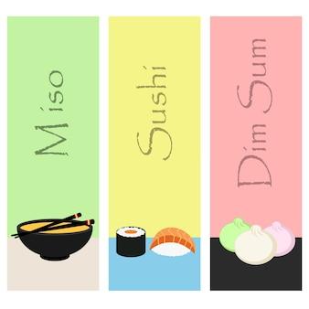 Sushi-mini-poster mit japanischen mahlzeit. vektor-illustration